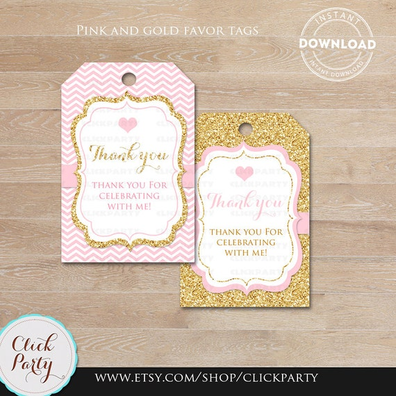 Pink And Gold Favor Tags Thank You Tags Baby Shower Gift Favors