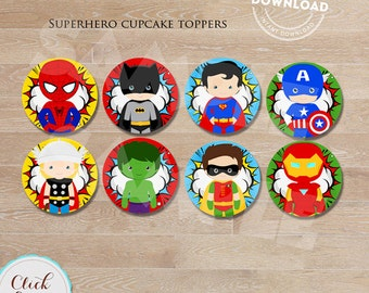 Superhero Cupcake toppers, Super hero, Superheroes, cake toppers, Birthday party decorations, Party supplies, INSTANT DOWNLOAD
