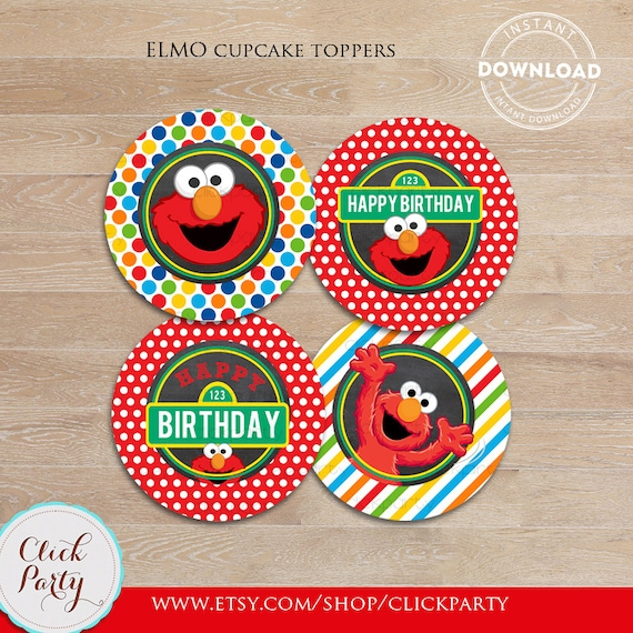 Elmo Chalkboard Cupcake Toppers Sesame Street Printable Cake 1st Birthday Party Decorations Supplies INSTANT Download