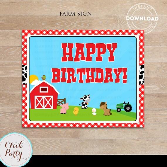 Farm Happy Birthday Sign Barn Party Door Old Mc Donald Barnyard Animals Printable Supplies Decorations