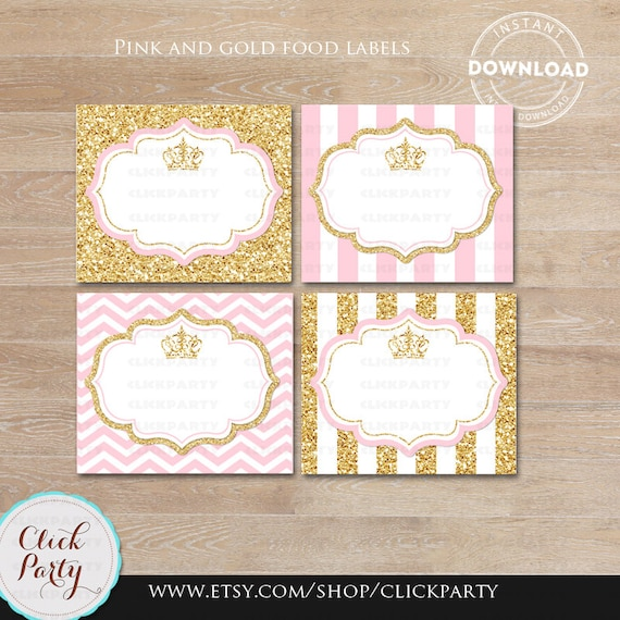 princess pink and gold food tent labels gold glitter buffet etsy