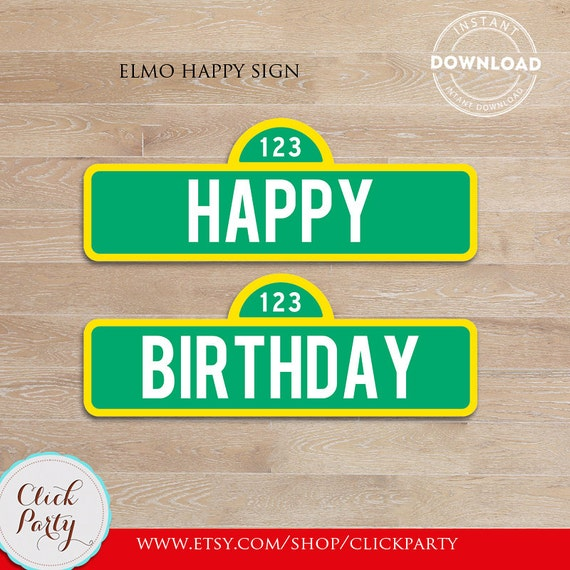 Elmo Happy Birthday Sign Party Printable Door Decorations Supplies INSTANT DOWNLOAD