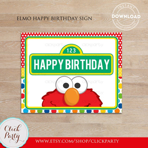 Elmo Happy Birthday Sign Party Printable Door Decorations Supplies INSTANT DOWNLOAD
