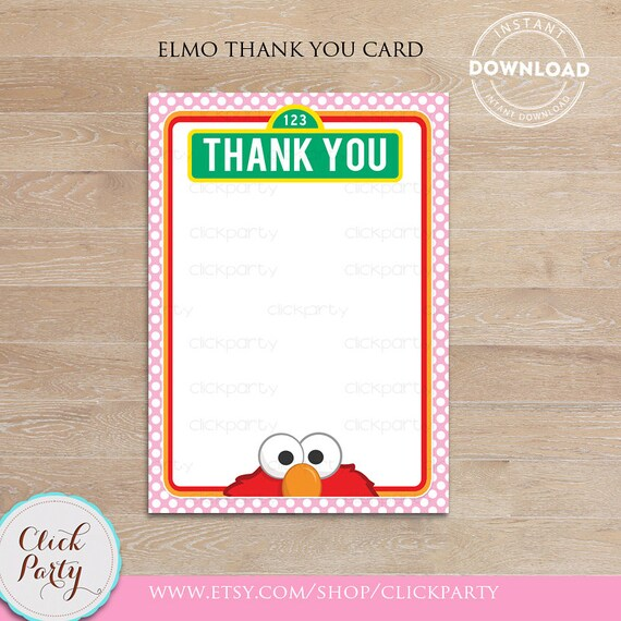 Elmo Girl Thank You Card Note Card Thank You Note Printable