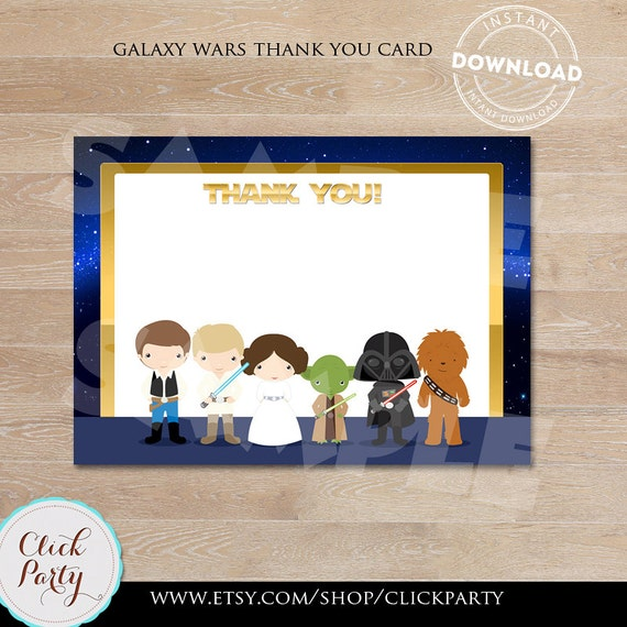 photograph relating to Star Wars Printable Cards named Galaxy wars Thank oneself card, Observe Card Star wars, thank yourself