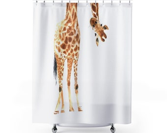 Giraffe Gift, Giraffe Shower Curtain, Giraffe Bathroom Decor, Baby Giraffe,  Restroom Decor, Bathroom Decor, Child Bathroom Shower Curtain