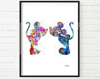 Mickey Mouse Minnie Mouse Art, Mickey And Minnie Mouse Poster, Mickey  Watercolor, Disney Art, Disney Wall Art, Nursery Wall Art, Minnie Art