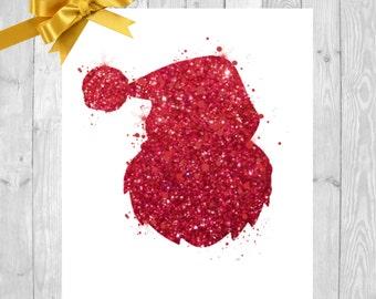 Christmas PRINTABLE Card Art Santa Claus Print, Santa Art, Christmas Art Print, Santa Claus Wall Art, , Xmas Print, Christmas Card