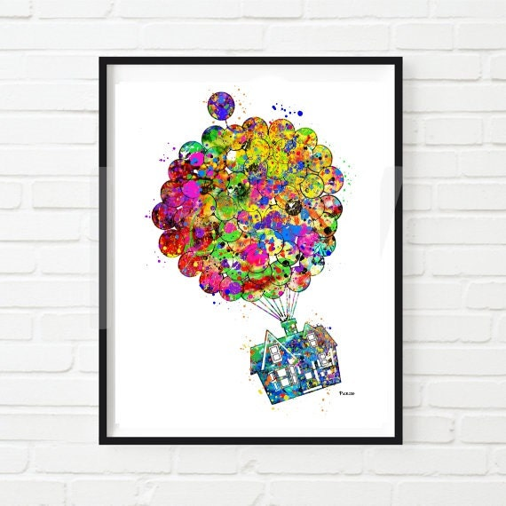 Disney Print Up House Watercolorinstant Download Up Movie Etsy