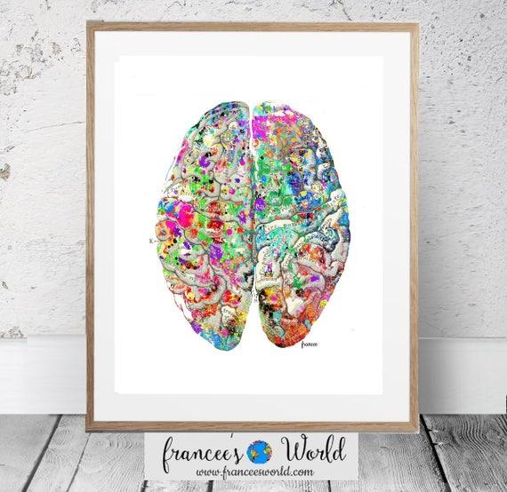Brain Art Vintage Anatomy Print Brain Printable Etsy