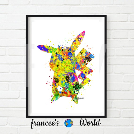 graphic about Pikachu Printable named Pokemon Pikachu Print Watercolor Artwork Residence Decor Nursery