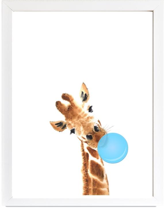 picture regarding Printable Giraffe named Giraffe Printable, Giraffe wall artwork, Blue Bubblegum, Giraffe animal print kid shower reward, safari nursery artwork, boy place artwork, boy or girl place decor