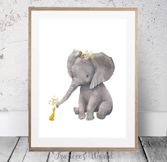Elefanten Safari Kinderzimmer Kunst Baby Elefant Druck Etsy