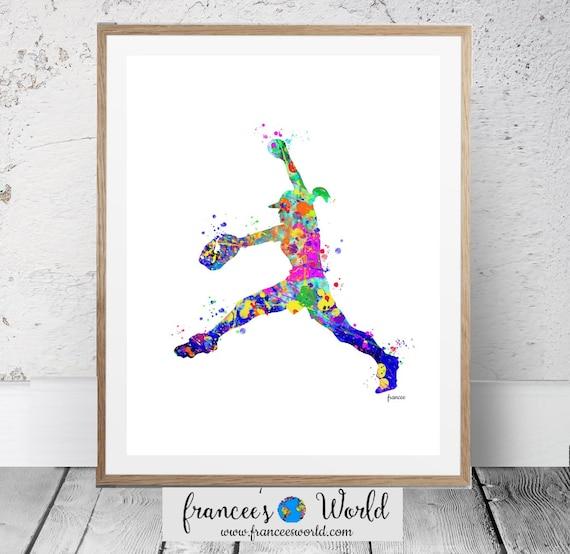 graphic regarding Printable Softball referred to as Softball Prints,Woman Softball Watercolor Artwork, Softball Artwork