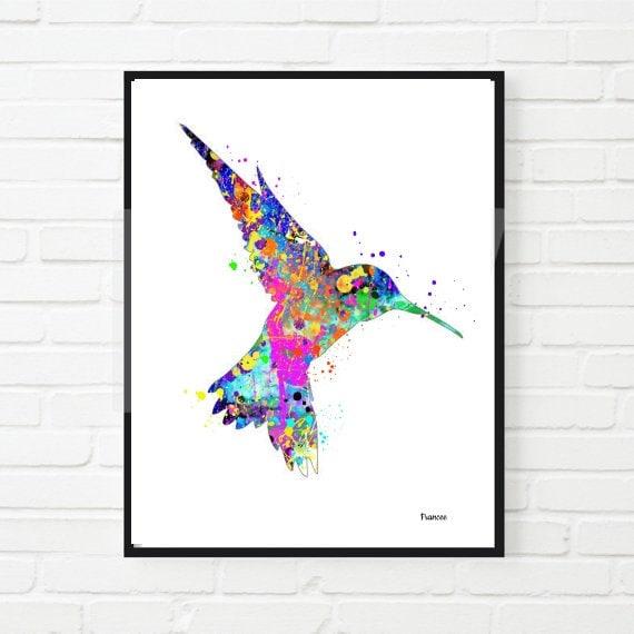 WatercolorPrint Hummingbird Home Decor Wedding Gift Wall