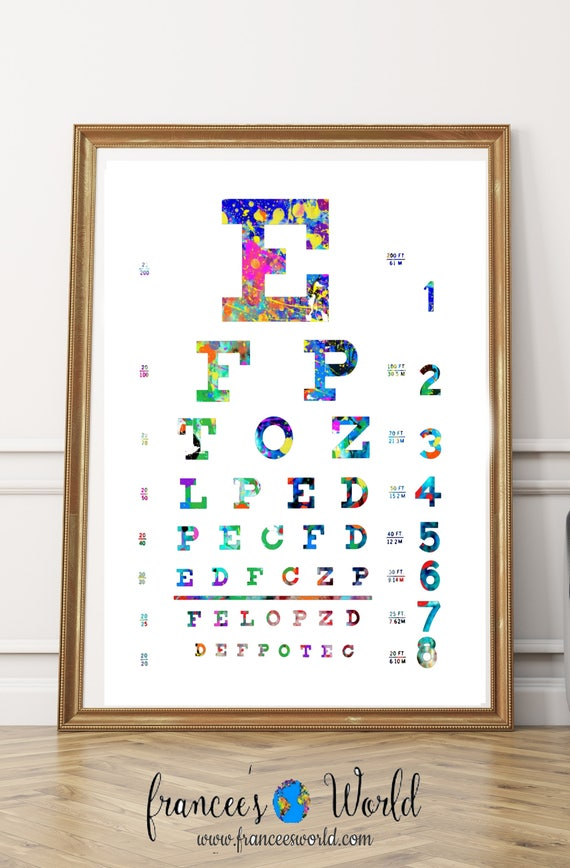 Eye Chart Print Eye Chart Eye Chart Art Watercolor Eye Chart Eye