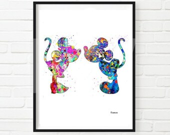 Mickey Mouse Minnie Mouse Art, Mickey And Minnie Mouse Poster, Mickey  Watercolor, Disney