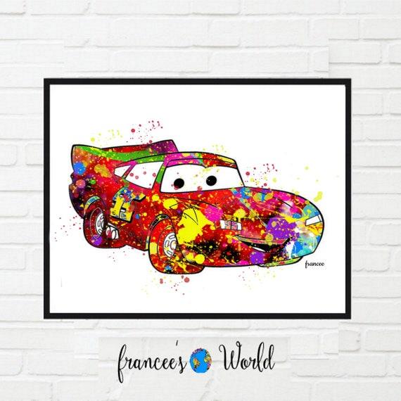 Lightning Mcqueen Art Print Poster Disney Cars Wall Art | Etsy