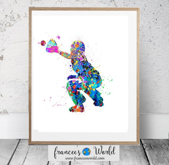 picture about Printable Softball titled Softball Catcher PRINTABLE Watercolor,Woman Softball Catcher