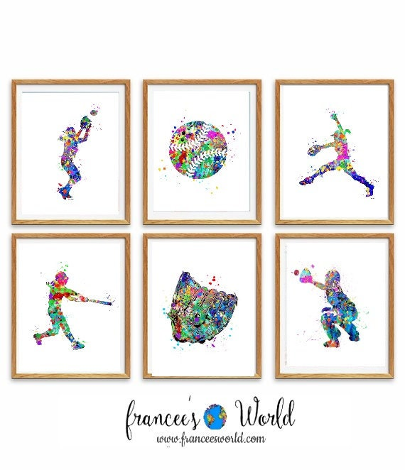 picture about Printable Softball called Softball PRINTS, Fastened of 6 Softball,PRINTABLE softball prints