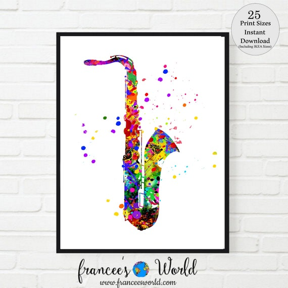 Saxophone Print Musical Instrument Saxophone Printable Music Wall Decor Music Room Decor Sax Wall Art Music Decor Instant Download By Francee S World Catch My Party