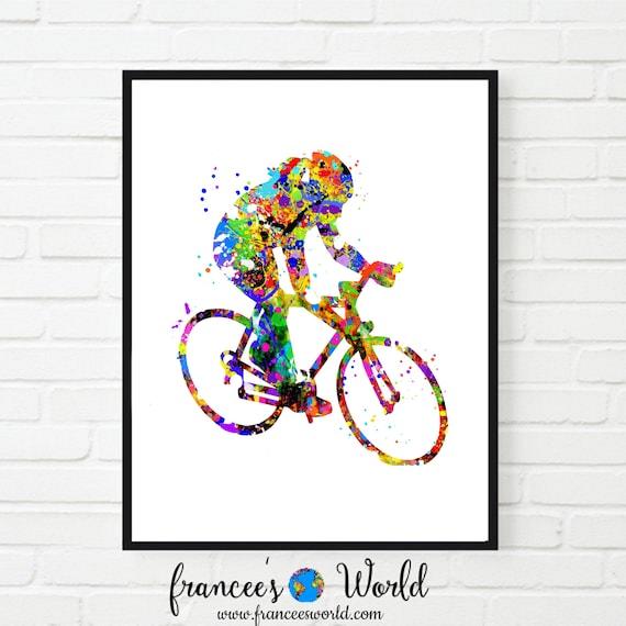 Woman riding exercise bike Poster Art Print Home Decor
