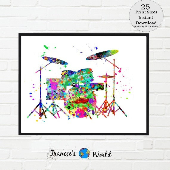 Drums Print drum set art music room decor musical art drums