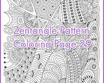 Coloring page ZENTANGLE adult and children, PDF zentangle pattern, printable art tangle inspired