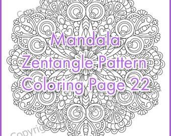Coloring Page adult and children MANDALA (zendala), zentangle pattern, printable art original, PDF, tangle inspired.