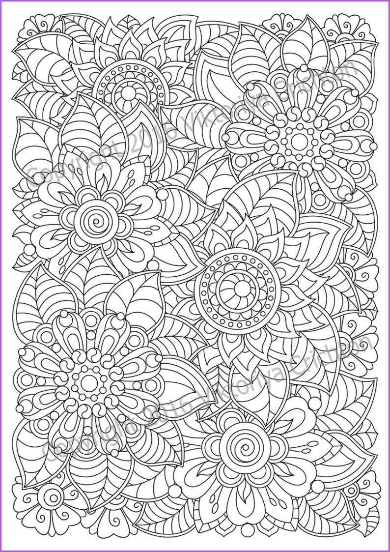 Flowers Zentangle Coloring Page For Adults Doodle Pdf Etsy