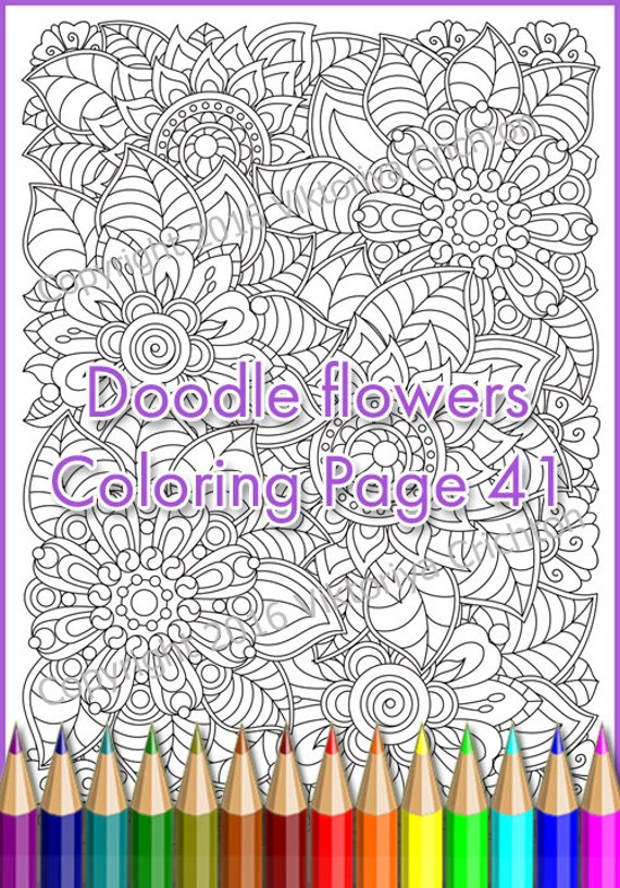 Flowers zentangle Coloring page for adults, doodle, PDF, Printable zentangle art, intricate patterns.