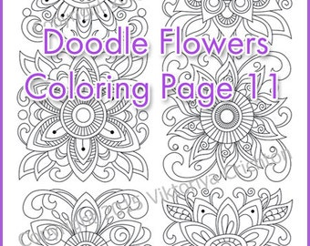 Coloring Page Doodle Flowers Printable Adults And Children PDF Zentangle Inspired
