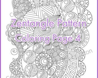 Adult coloring page Zentangle Pattern, zentangle inspired coloring sheet, printable art original, PDF