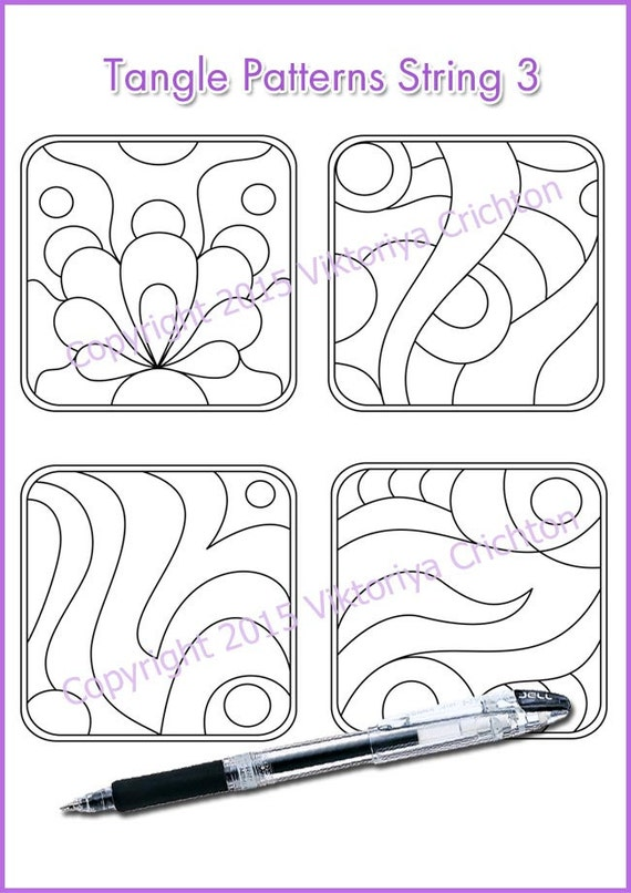 photograph relating to Printable Zentangles titled Strings for drawing zentangles. String artwork template. Tangle routine printable string, PDF..