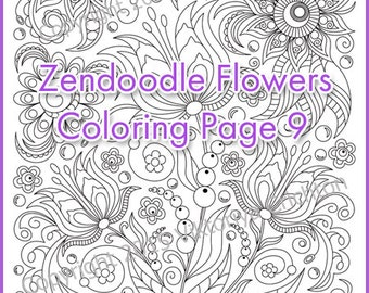 Coloring page adults and children, PDF, printable doodle flowers, zendoodle (zentangle) inspired,  doodle art.