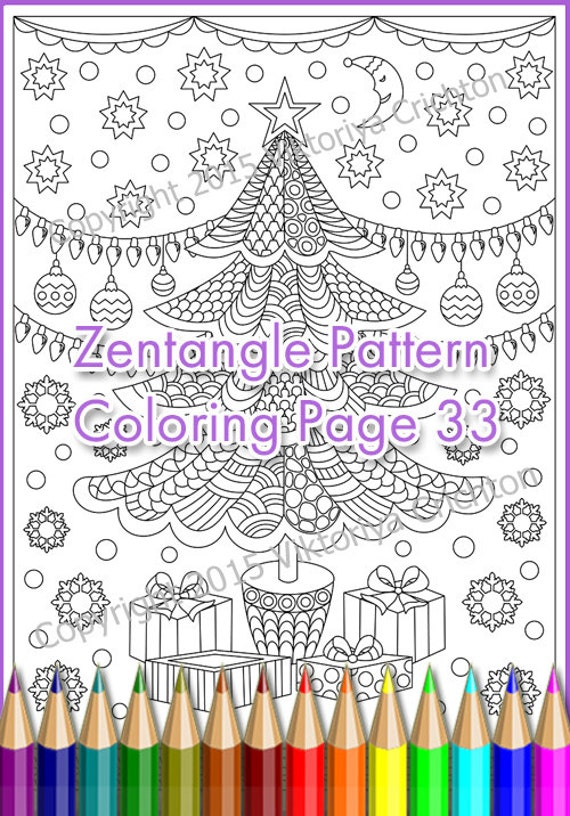 Winter Coloring Page ZENTANGLE Merry Christmas