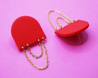 Red dinging earrings in polymer paste with stainless steel gold chains, modern gold jewelry