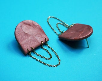 Shiny old pink dinged earrings in polymer paste with stainless steel gold chains, modern gold jewelry