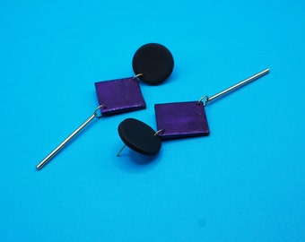 Long black hologram earrings with stainless steel gold charm, modern polymer paste jewelry