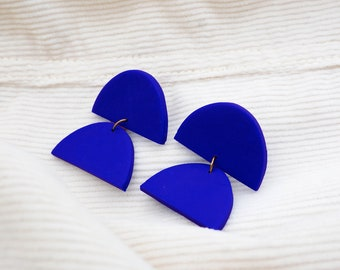 Geometric earrings royal blue polymer paste and stainless steel, made in France