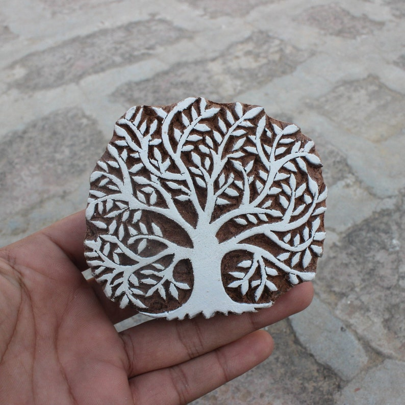 Tree of life Hand block stamp Wood Block Printing Hand Carved image 0
