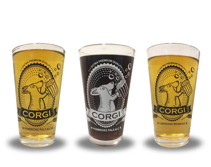 Featured listing image: Corgi Pint Glass (one glass - choose between Pembroke Pale Ale and Cardigan Cream Ale)