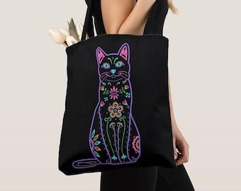Cat Tote Bag - Color Sugar Skull cat tote bag - cat Lover Gift - cat gift