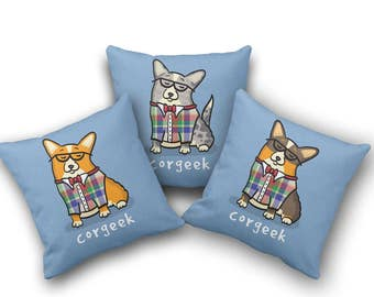 Corgi Pillow Cover - Choose between Pembroke and Cardigan Corgis (Cover Only, Insert not included)