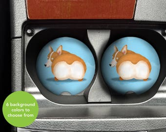 Corgi Butt Car Coasters - Set of 2 Corgi Sandstone Car Coasters - Unique Corgi Gift - Pembroke Welsh Corgi