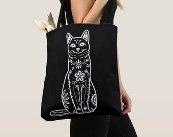 Cat Tote Bag - Black & Whjite Sugar Skull cat tote bag - cat Lover Gift - cat gift
