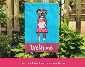 Boxer Garden Flag (GIRL) - Unique Boxer Gift -  Boxer Dog Gift - GIRL Sunbathing Boxer Garden Flag - Fawn or Brindle