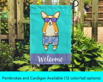 Corgi Garden Flag - Unique Corgi Gift - Pembroke and Cardigan Corgis - BOY Sunbathing Corgi Garden Flag - Tri Color/Merle/Brindle Corgis