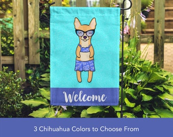 Chihuahua Garden Flag (GIRL) - Unique Chihuahua Gift -  Apple Head Chihuahua Dog Gift - GIRL Sunbathing Chihuahua Garden Flag