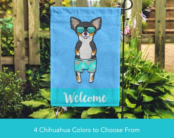 Chihuahua Garden Flag (BOY) - Unique Chihuahua Gift -  Long Haired Chihuahua Dog Gift - BOY Sunbathing Chihuahua Garden Flag
